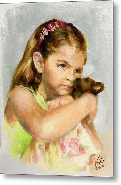 Portrait Of A Young Girl With Toy Bear Metal Print