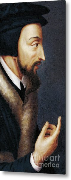 Portrait Of French Theologian And Religious Reformer, John Calvin  Metal Print