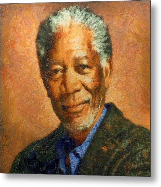 Portrait Of Morgan Freeman Metal Print