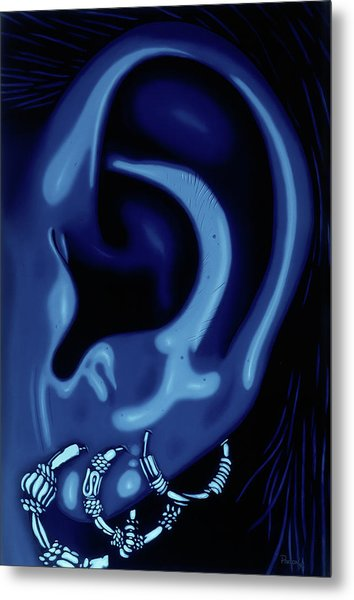 Portrait Of My Ear In Blue Metal Print