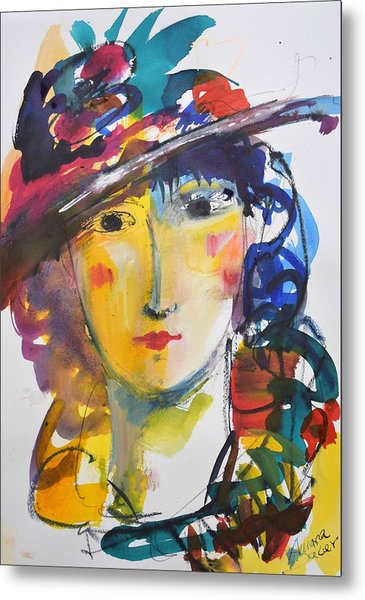 Portrait Of Woman With Flower Hat Metal Print