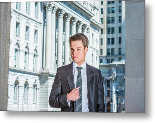 Metal Print featuring the photograph Portrait Of Young Businessman 15042511 by Alexander Image