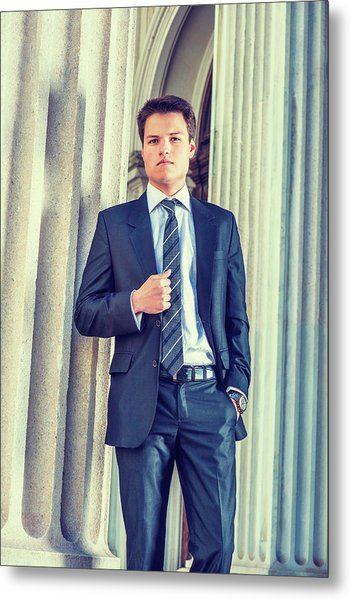 Metal Print featuring the photograph Portrait Of Young Businessman 15042512 by Alexander Image