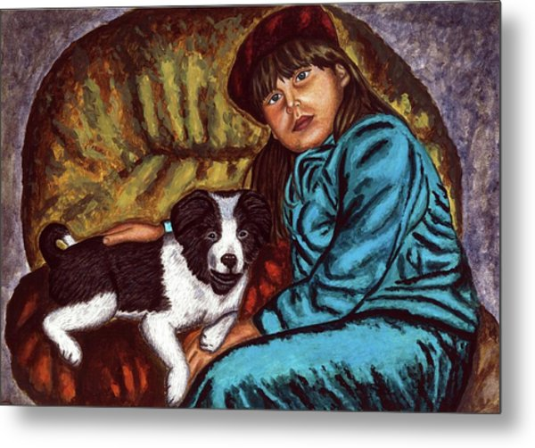 Portrait Painting Of A Young Girl With A Little Dog  Metal Print