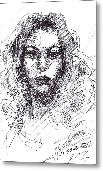 Portrait Sketch  Metal Print