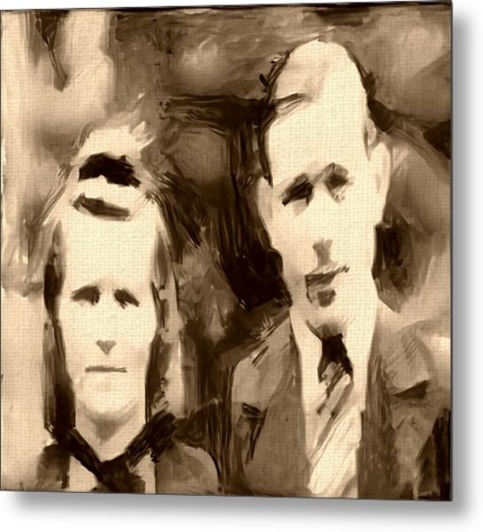 Portrait Underpainting In Umber And Browns Old Couple Metal Print by MendyZ