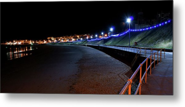 Portrush Seafront At Night Metal Print