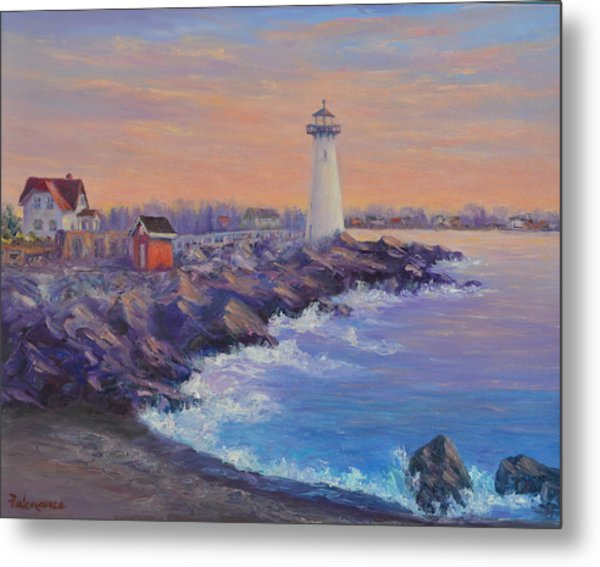 Portsmouth Lighthouse Sunset Peaceful  Coastal Painting Metal Print