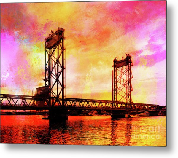 Portsmouth Memorial Bridge Abstract At Sunset Metal Print