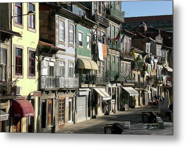Portugal Cityscape Digital Painting Metal Print