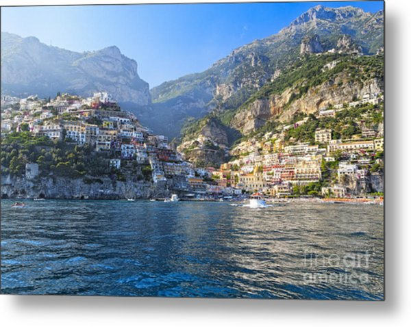 Positano Harbor View Metal Print