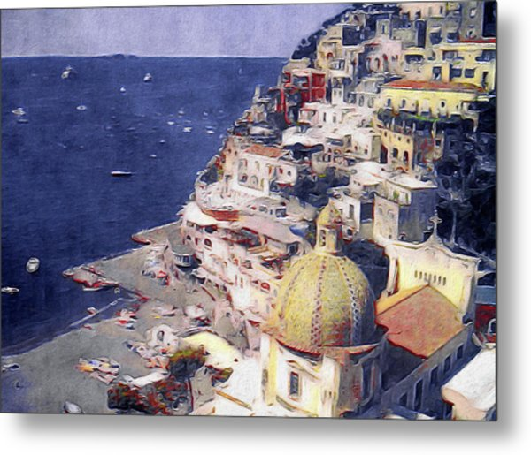 Metal Print featuring the mixed media Positano by Susan Maxwell Schmidt