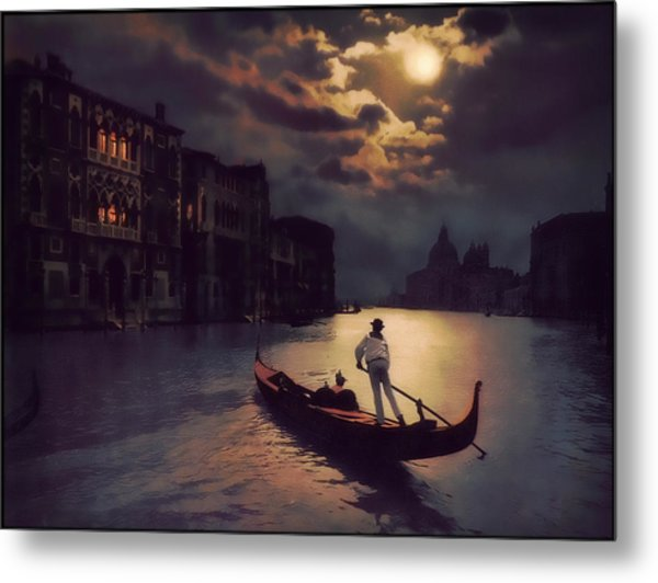 Postcards From Venice - The Red Gondola Metal Print