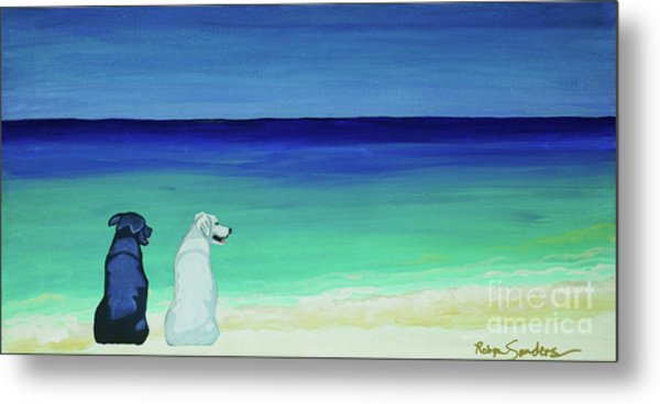 Lab Potcake Dogs On The Beach Metal Print