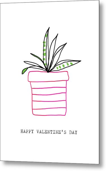 Potted Plant Valentine- Art By Linda Woods Metal Print