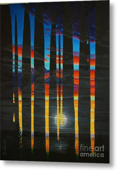 Poured Sunset On A Moonlit Night Metal Print by Don Evans