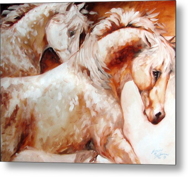 Power By Two Equine Original Metal Print by Marcia Baldwin