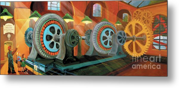 Metal Print featuring the painting Power Plant Turbines by Donna Hall