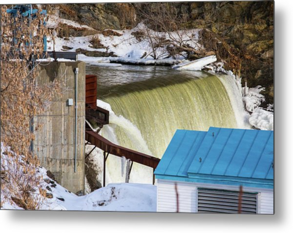 Power Station Falls On Black River Two Metal Print