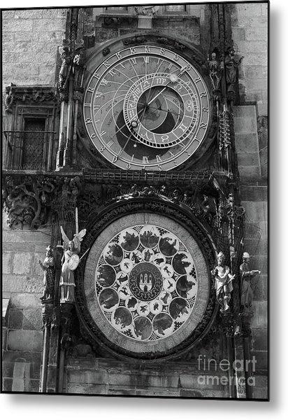 Prague Astronomical Clock In B/w Metal Print