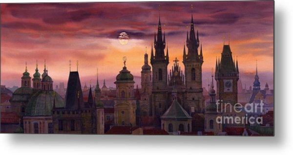 Prague City Of Hundres Spiers Metal Print