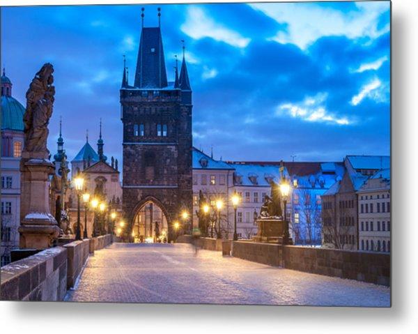 Prague In Blue Metal Print