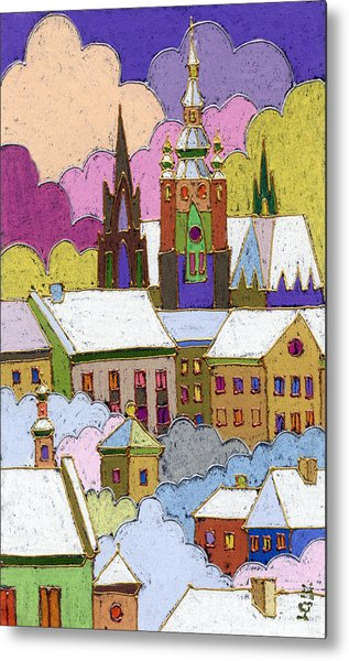 Prague Old Roofs Prague Castle Winter Metal Print