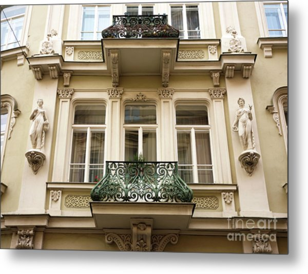 Prague Old Town Square Balcony Style Metal Print by John Rizzuto