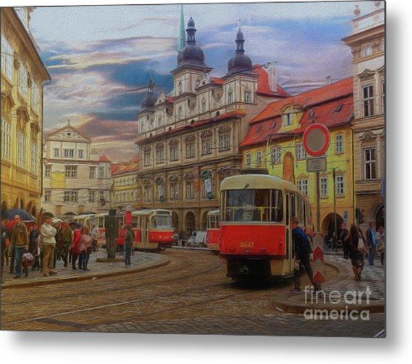 Prague, Old Town, Street Scene Metal Print