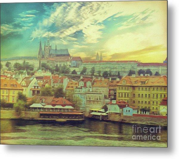 Prague Riverview Metal Print