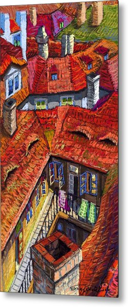 Prague Roofs 01 Metal Print