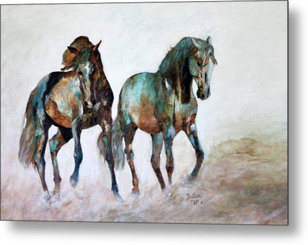 Prairie Horse Dance Metal Print