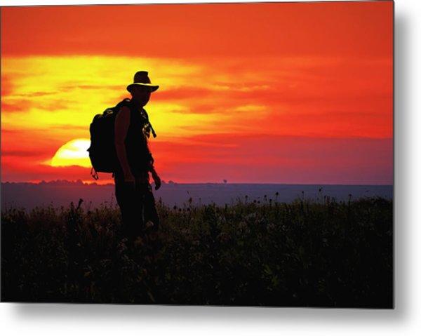 Prairie Sundown Metal Print by Keith Bridgman