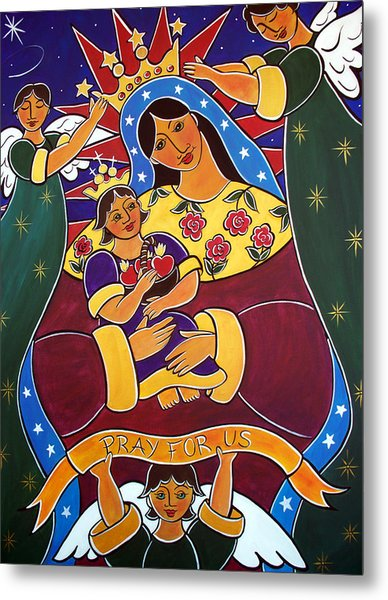 Metal Print featuring the painting Pray For Us by Jan Oliver-Schultz