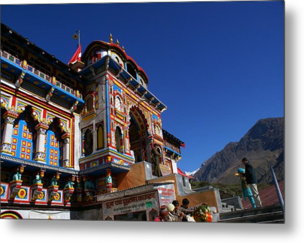 Prayers At Badrinath Temple Metal Print