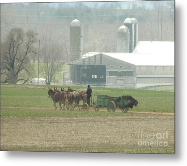 Preparing The Field-two Metal Print