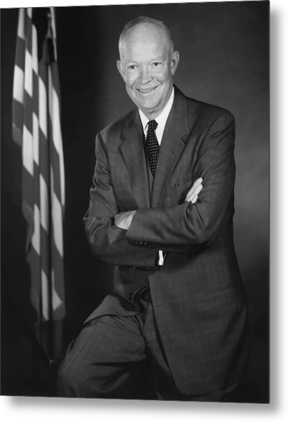 President Eisenhower And The U.s. Flag Metal Print