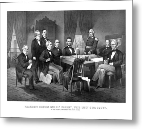 President Lincoln His Cabinet And General Scott Metal Print