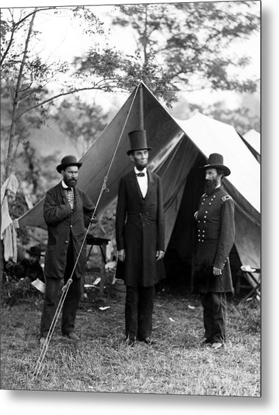 President Lincoln Meets With Generals After Victory At Antietam Metal Print