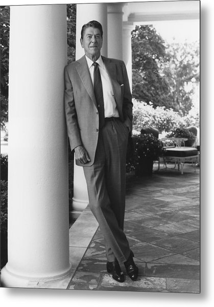 President Reagan Outside The White House Metal Print