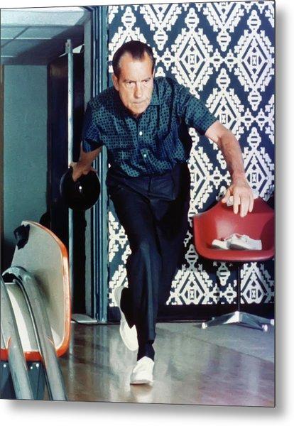 President Richard Nixon Bowling Metal Print