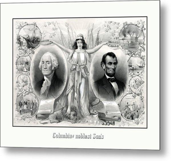Presidents Washington And Lincoln Metal Print
