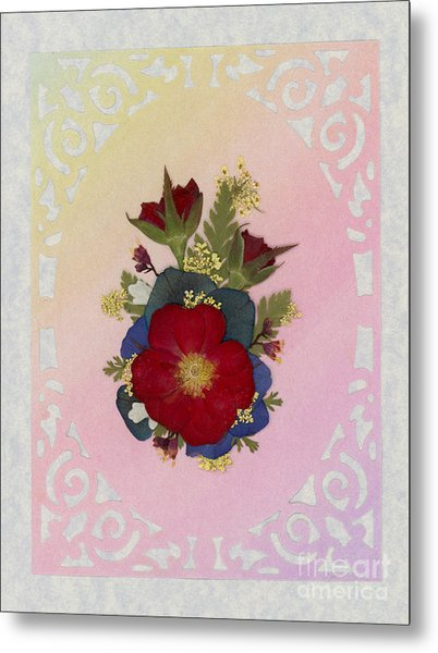 Pressed Flowers Arrangement With Red Roses Metal Print