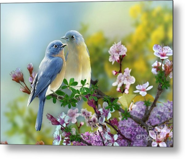 Pretty Blue Birds Metal Print