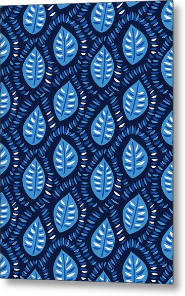Pretty Decorative Blue Leaves Pattern Metal Print