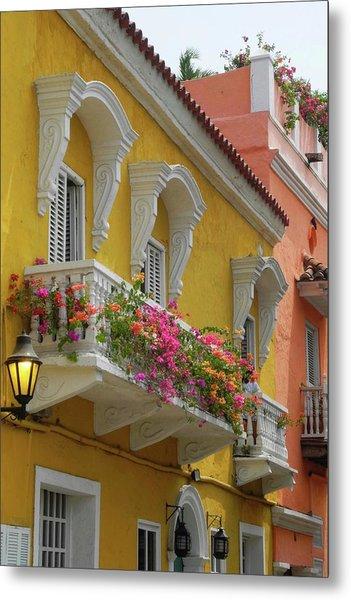 Pretty Dwellings In Old-town Cartagena Metal Print