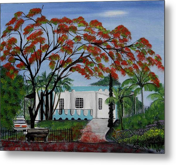 Pretty In Red Metal Print by Gloria E Barreto-Rodriguez