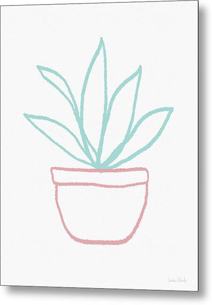 Pretty Potted Plant Illustration- Art By Linda Woods Metal Print