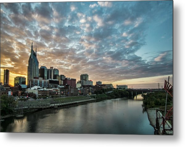 Metal Print featuring the photograph Pretty Sky And Nashville Skyline by Sven Brogren