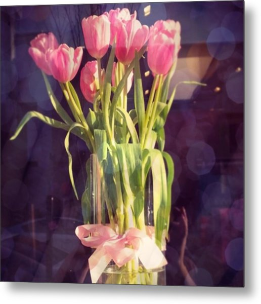 Pretty #tulip #flower #arrangement I Metal Print